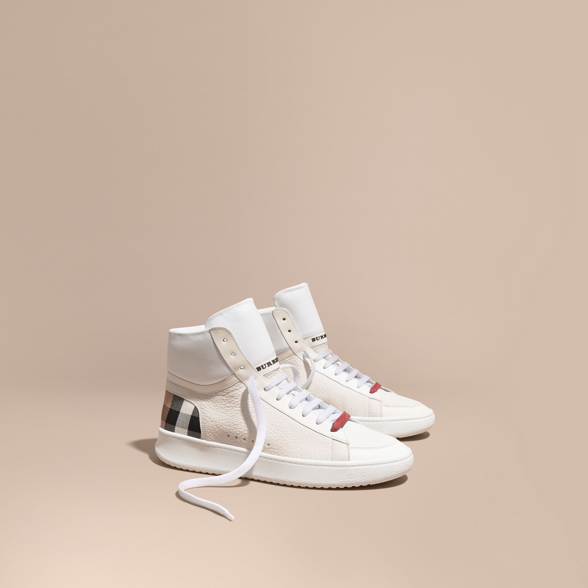 House check/optic white Check Detail Leather High-top Trainers House Check/optic White - gallery image 1