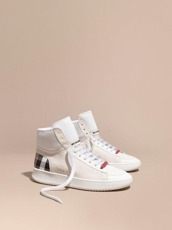 Check Detail Leather High-top Trainers House Check/optic White