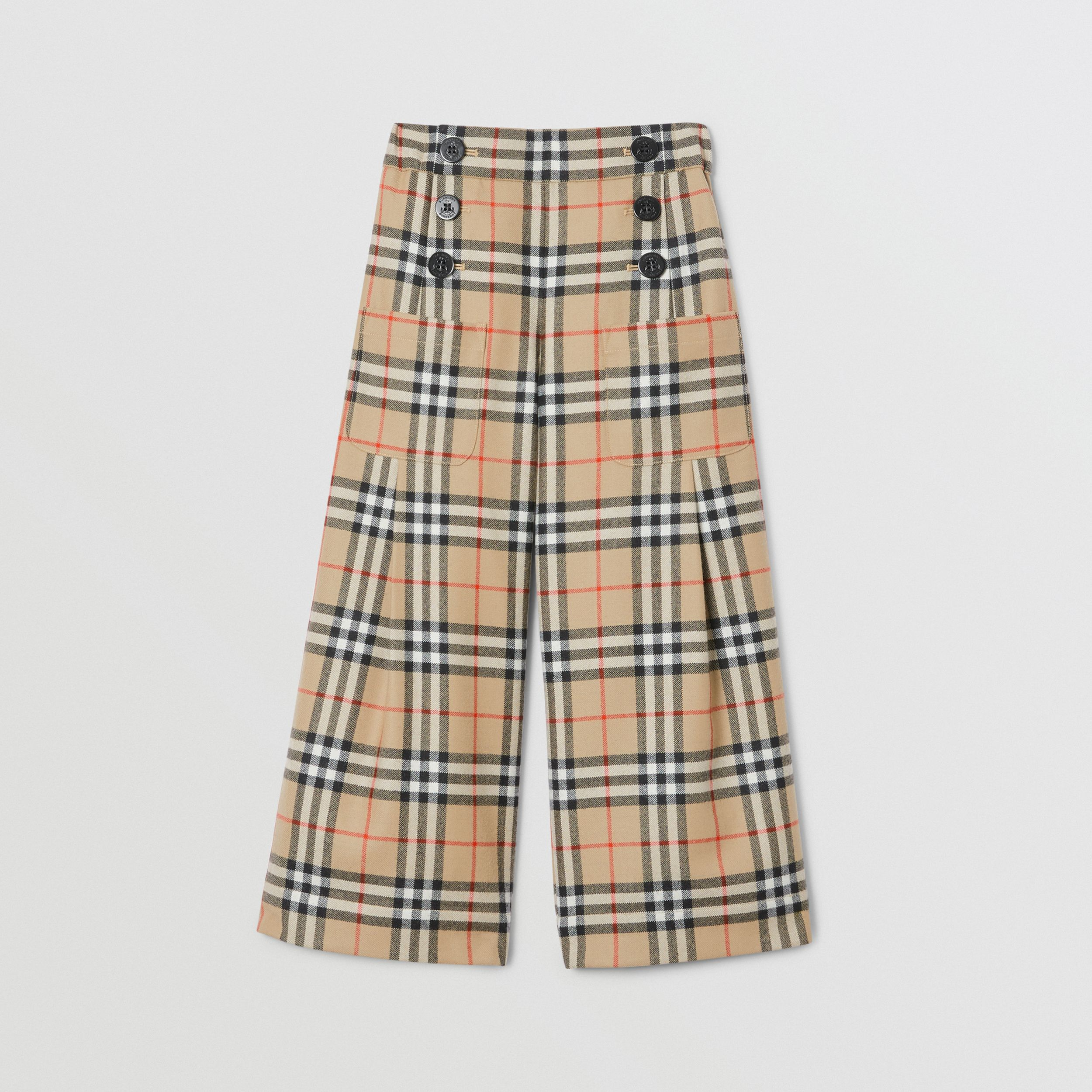 Vintage Check Wool Sailor Trousers in Archive Beige | Burberry - 1
