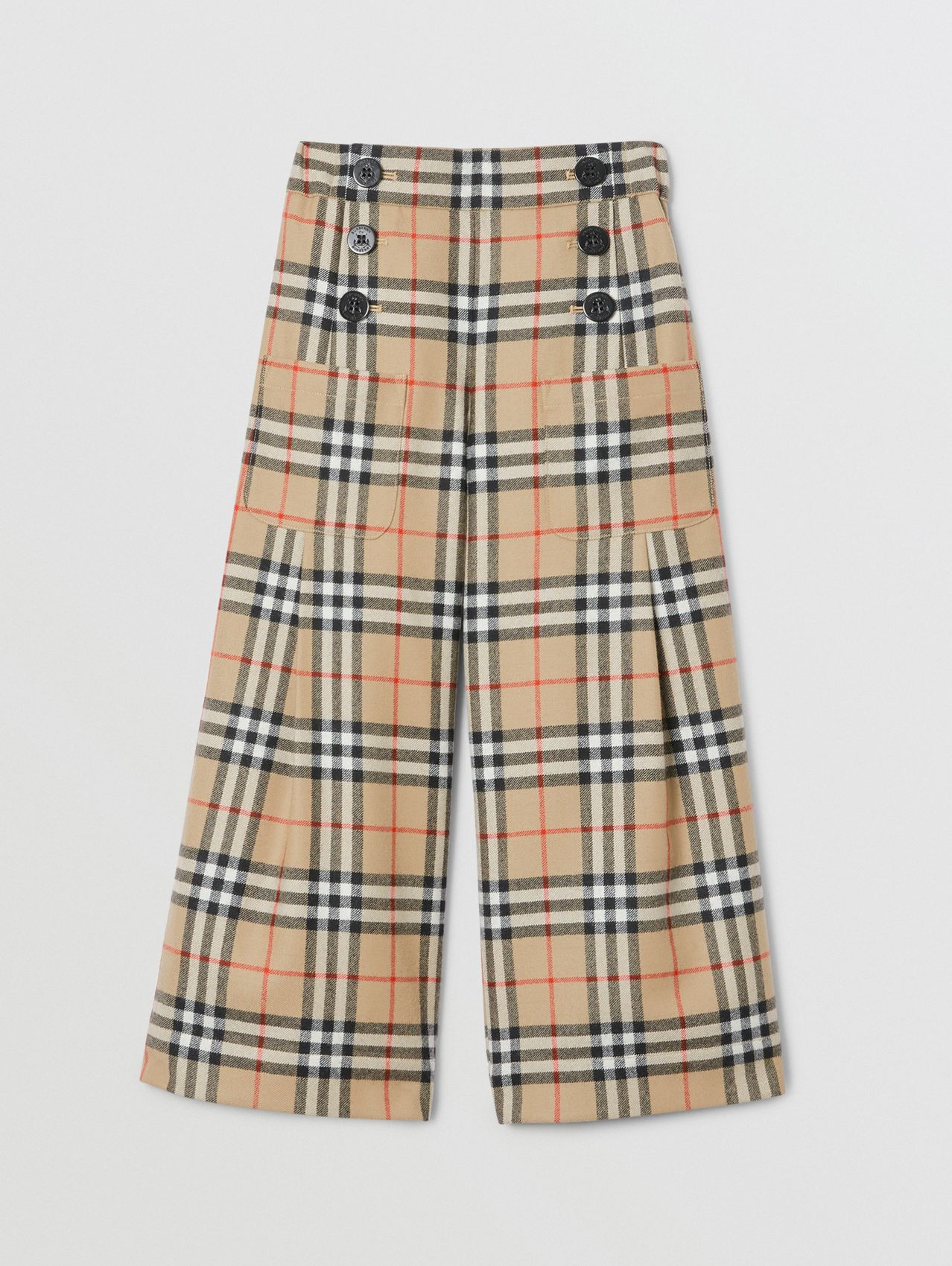 Vintage Check Wool Sailor Trousers in Archive Beige