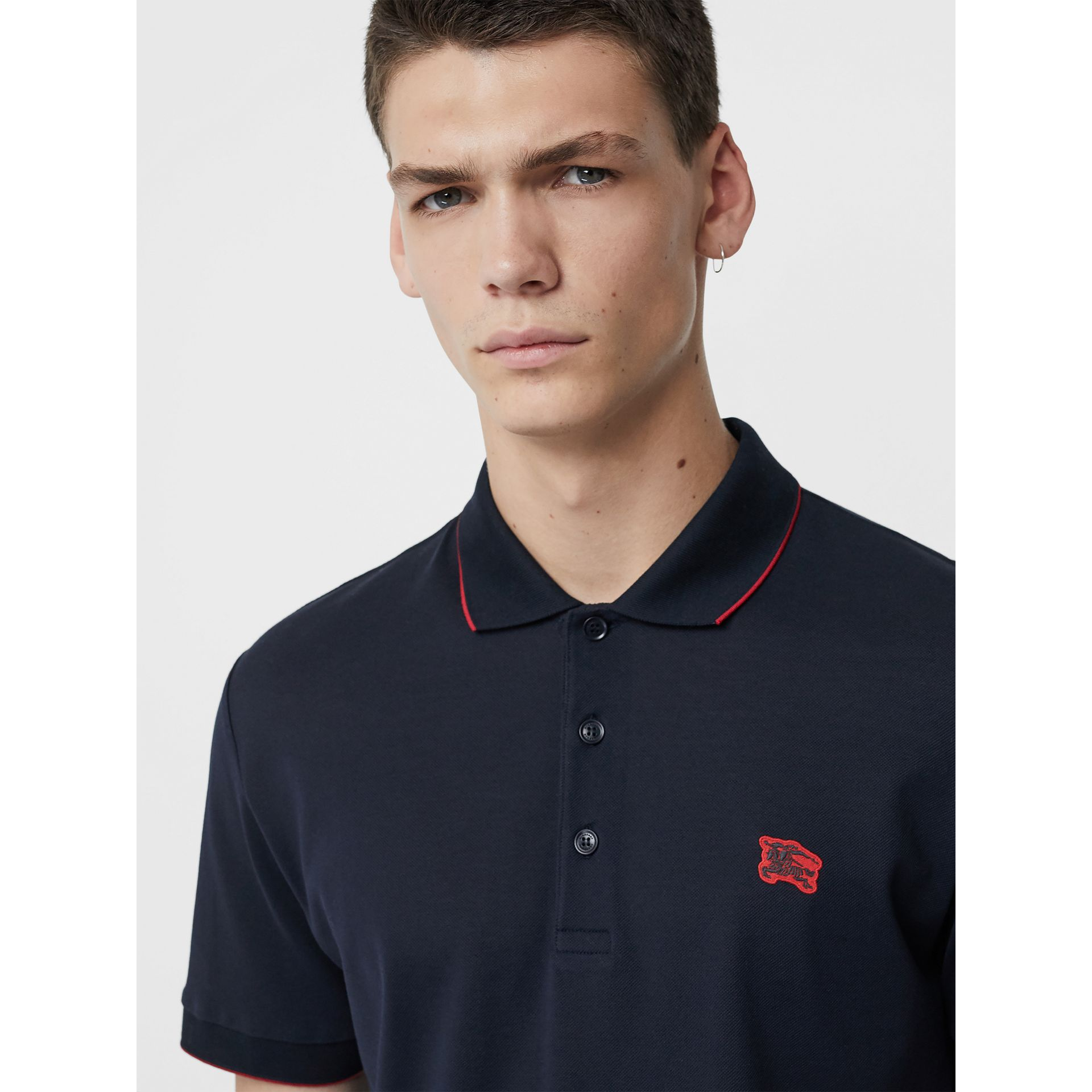 Tipped Cotton Piqué Polo Shirt in Navy - Men | Burberry - gallery image 1
