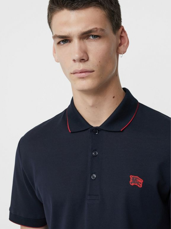 Tipped Cotton Piqué Polo Shirt in Navy - Men | Burberry - cell image 1