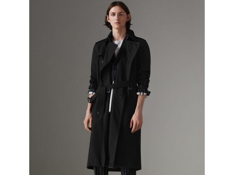 The Long Kensington Heritage Trench Coat in Black - Men | Burberry - cell image 4