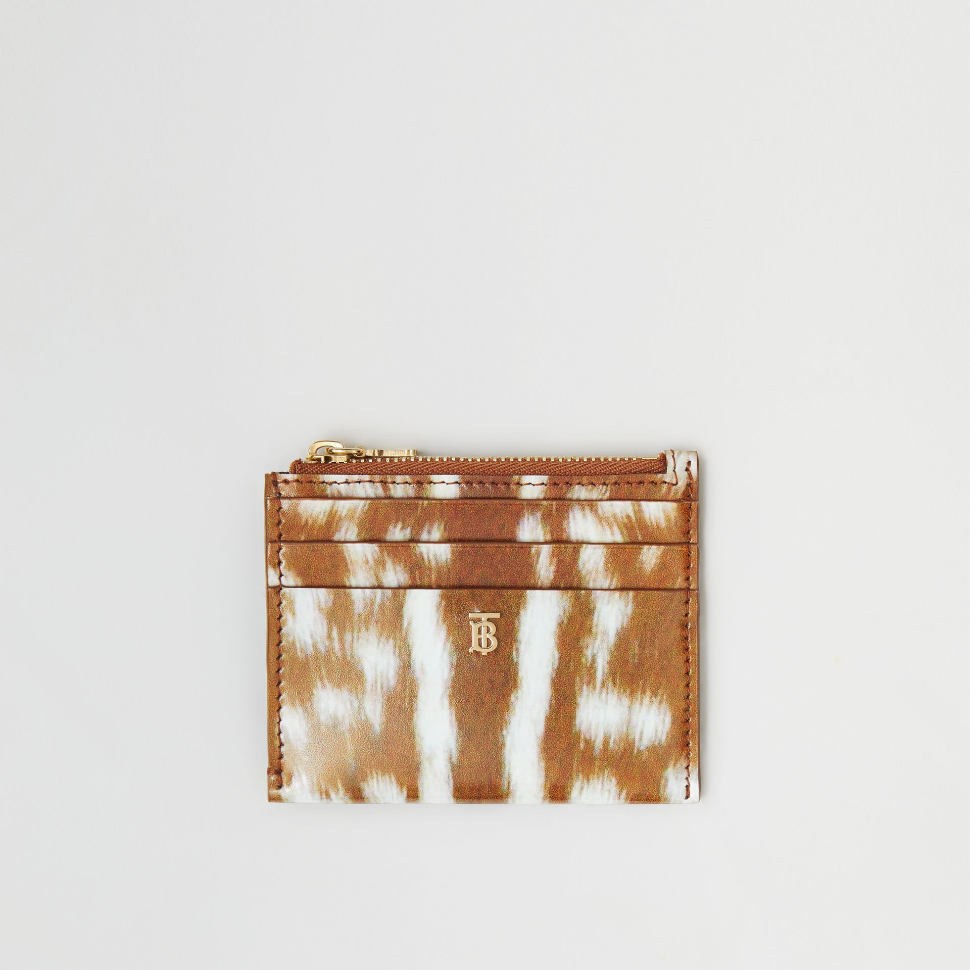 Deer Print Leather Zip Card Case in Malt Brown - Women | Burberry - gallery image 0