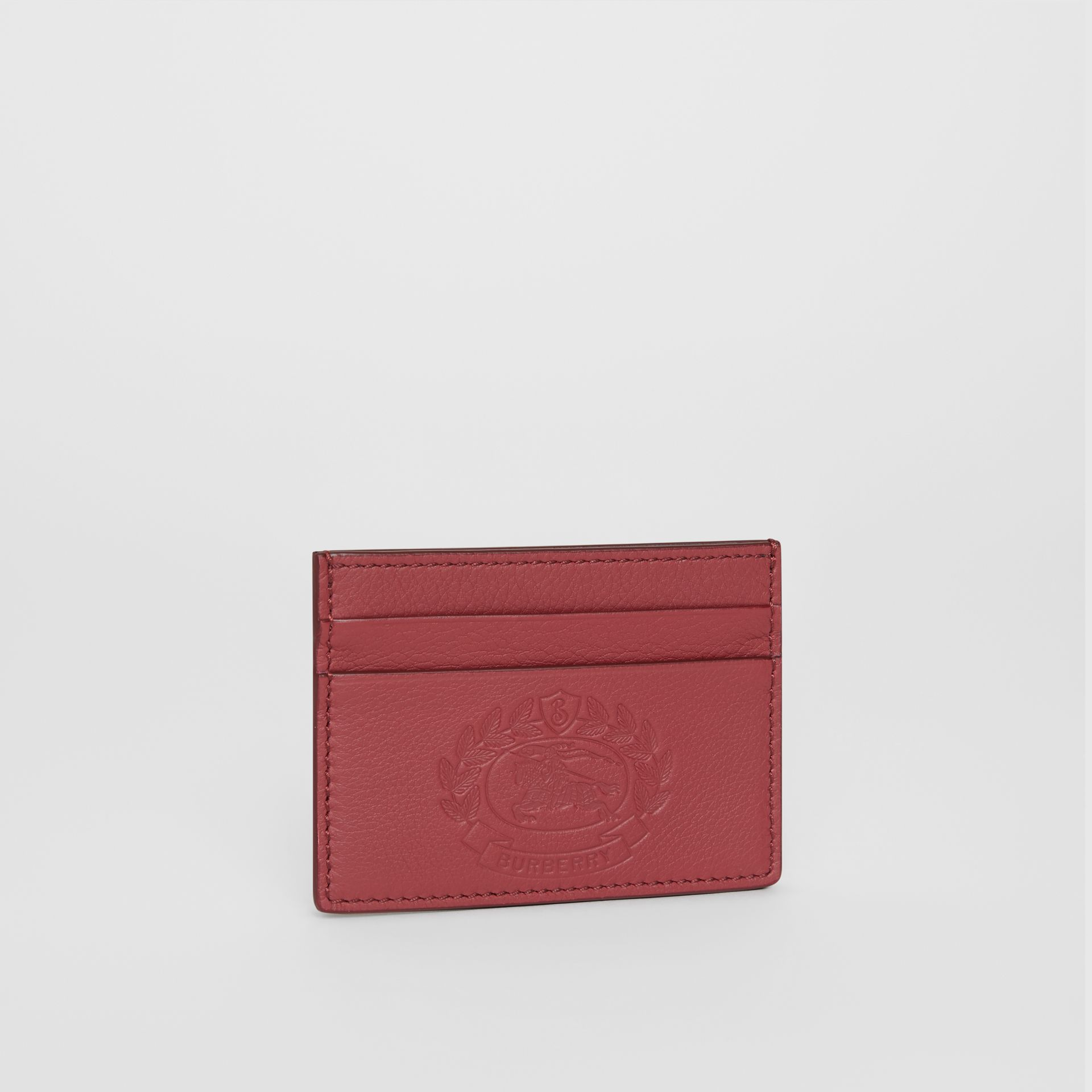 Embossed Crest Leather Card Case in Crimson | Burberry - gallery image 4