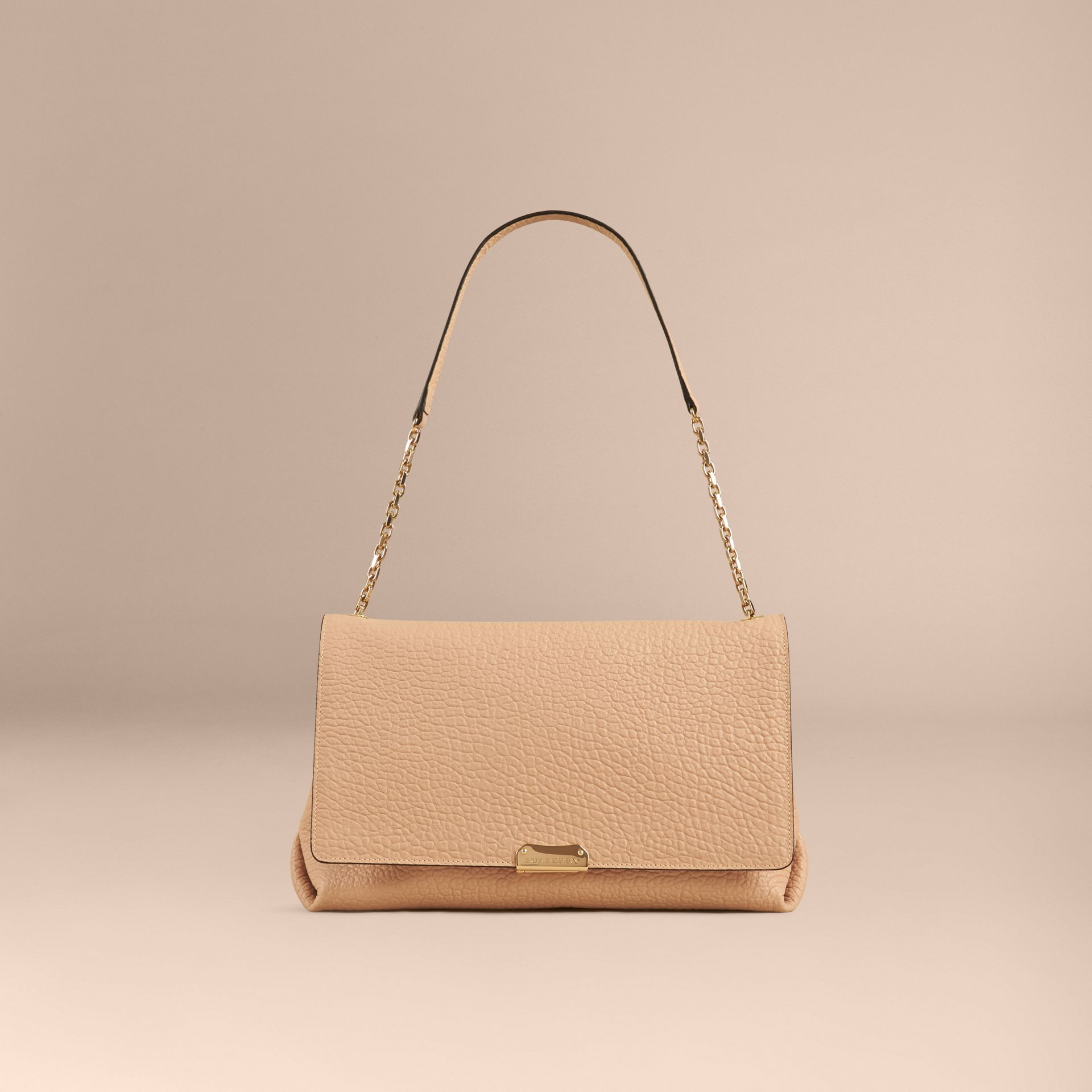 Pale apricot Large Signature Grain Leather Shoulder Bag Pale Apricot - gallery image 2