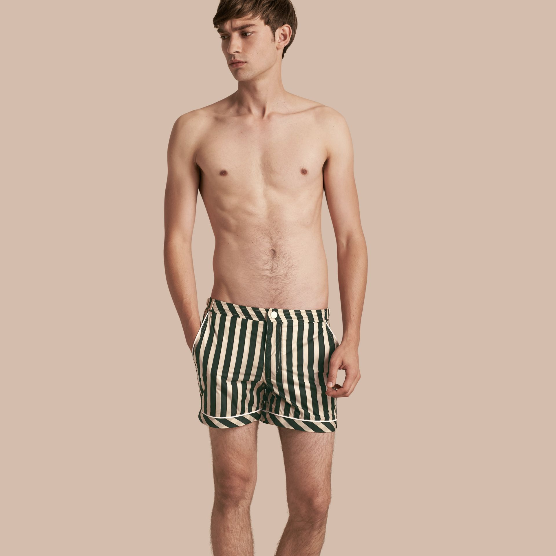 Forest green Pyjama Stripe Swim Shorts - gallery image 1