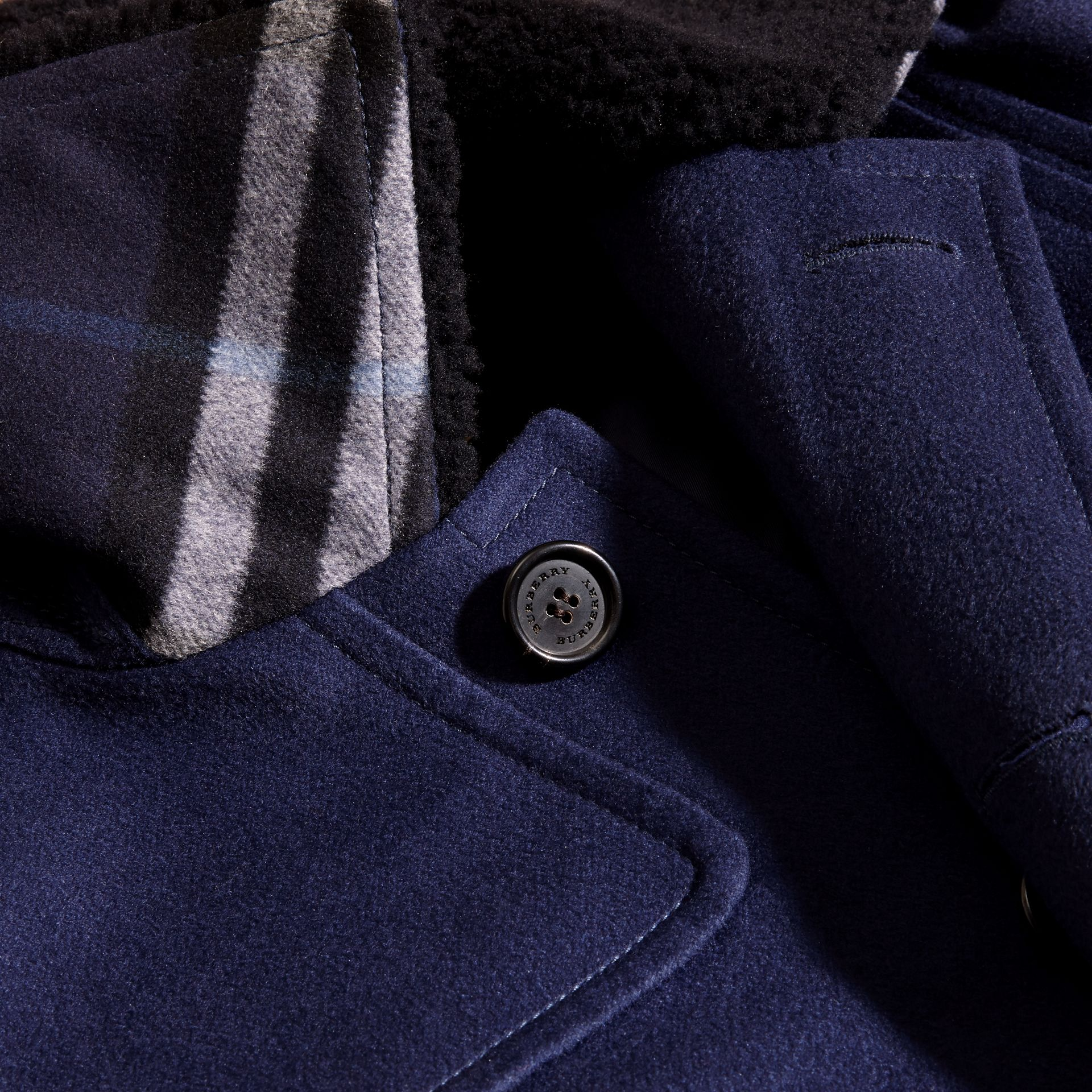 Blueberry Cashmere Donkey Jacket with Detachable Shearling Collar - gallery image 2