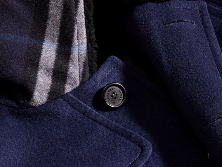 Blueberry Cashmere Donkey Jacket with Detachable Shearling Collar - cell image 1