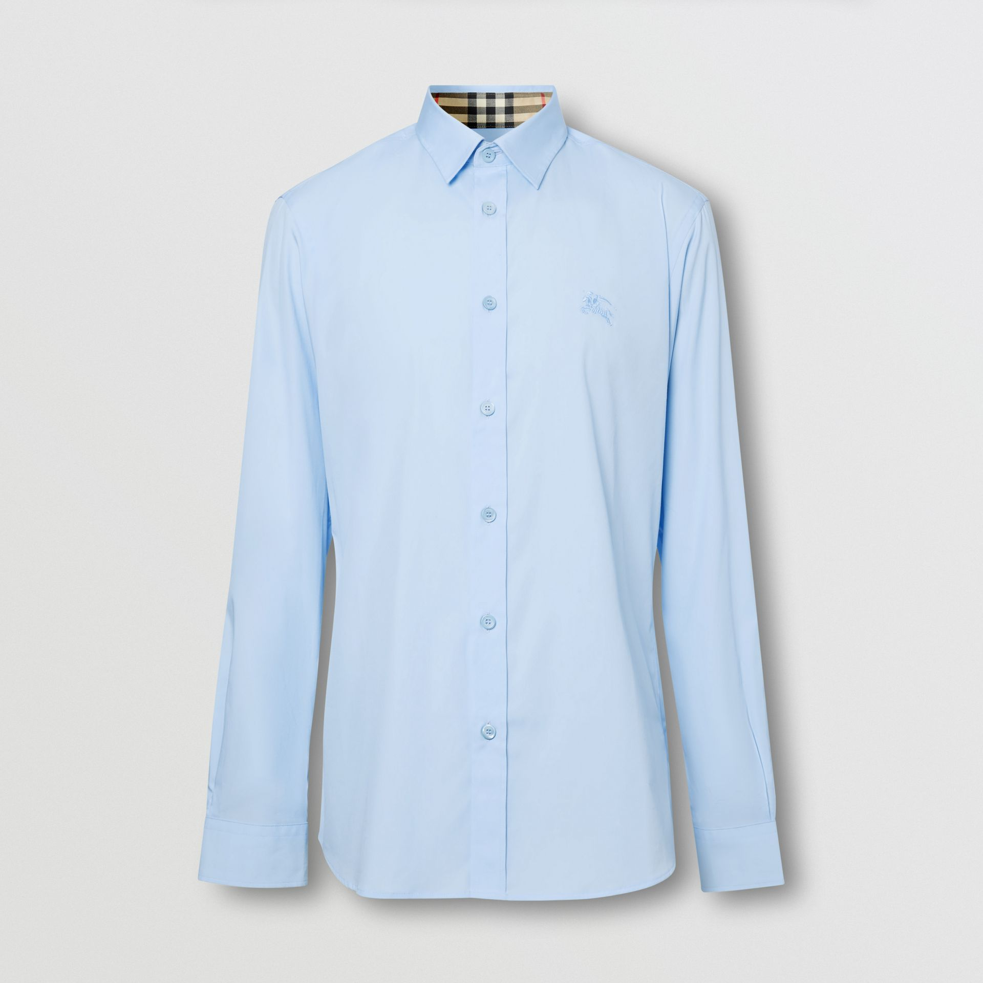 Classic Fit Embroidered EKD Cotton Oxford Shirt in Sky Blue - Men | Burberry - gallery image 6