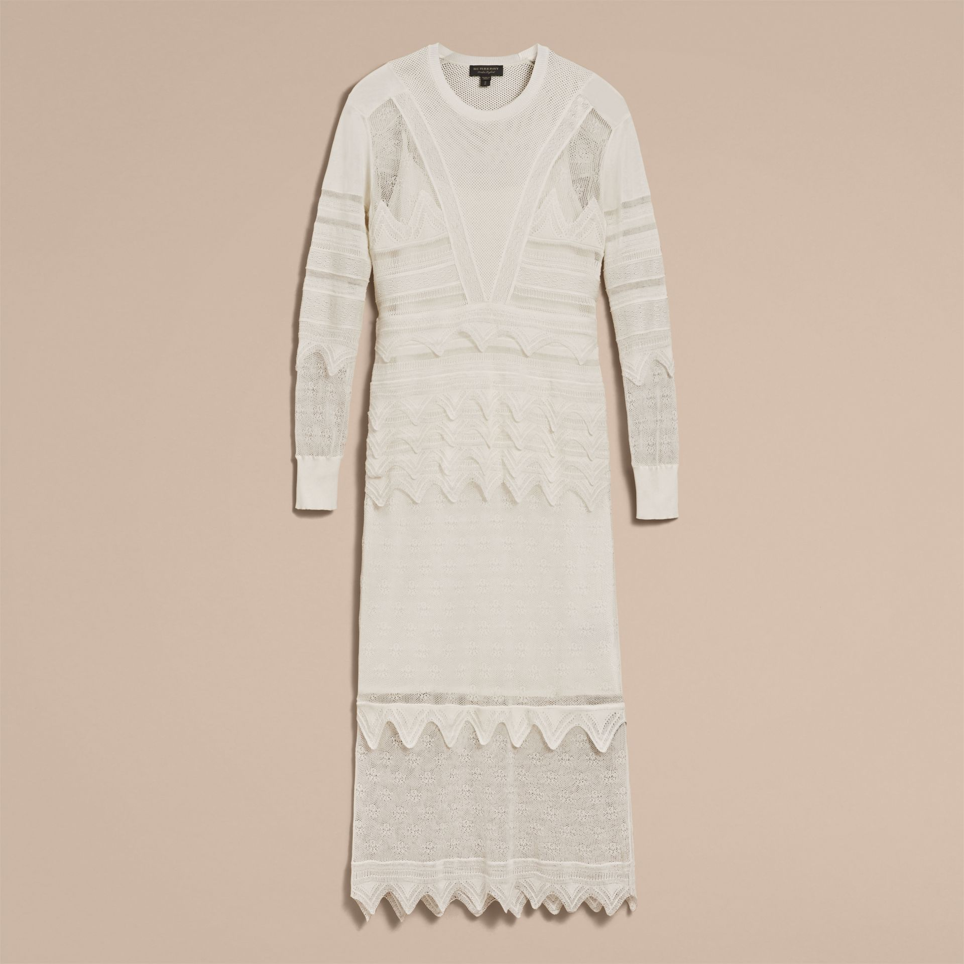 Knitted Lace Column Dress - Women | Burberry - gallery image 4