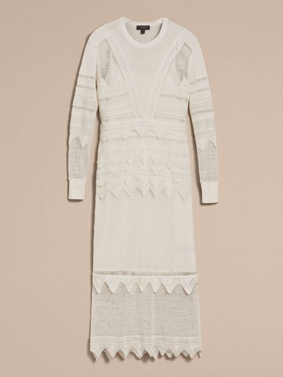 Knitted Lace Column Dress - Women | Burberry - cell image 3