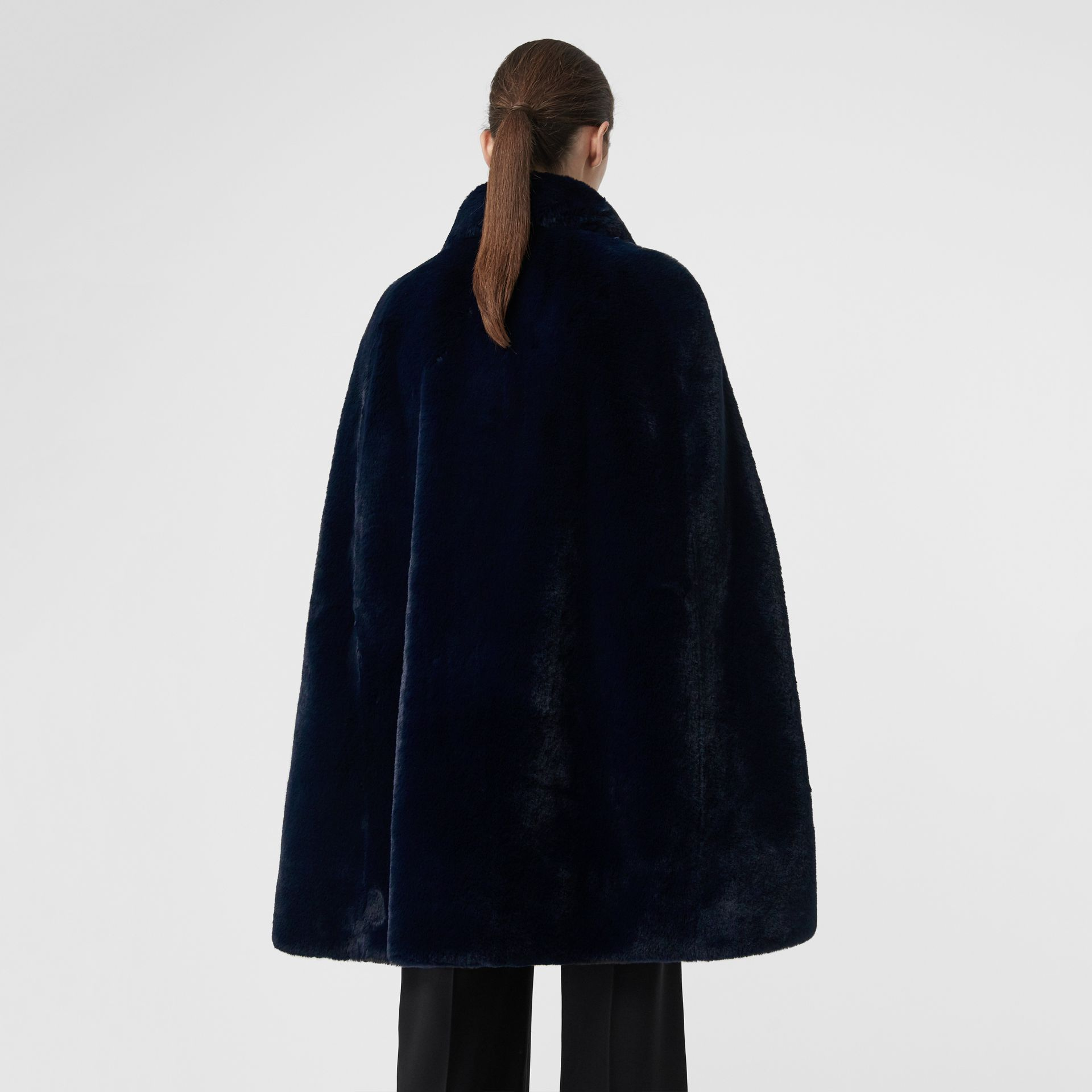 Stand Collar Faux Fur Cape in Navy - Women | Burberry - gallery image 2