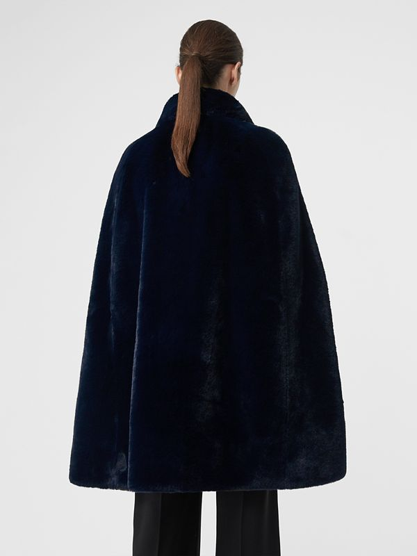 Stand Collar Faux Fur Cape in Navy - Women | Burberry - cell image 2