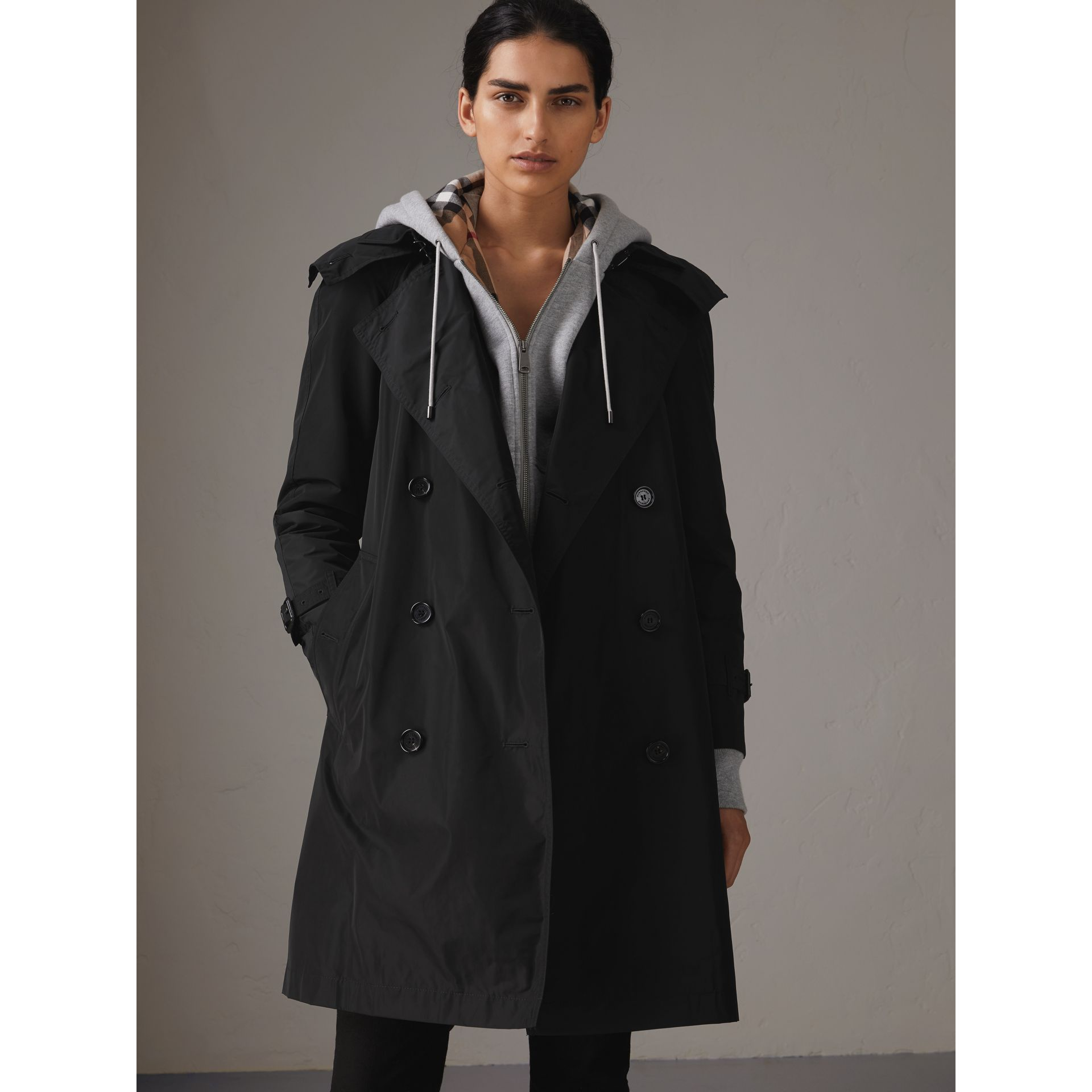 Detachable Hood Taffeta Trench Coat in Black - Women | Burberry - gallery image 7
