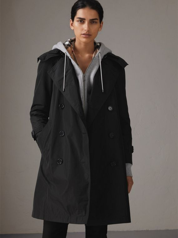 Detachable Hood Shape-memory Taffeta Trench Coat in Black