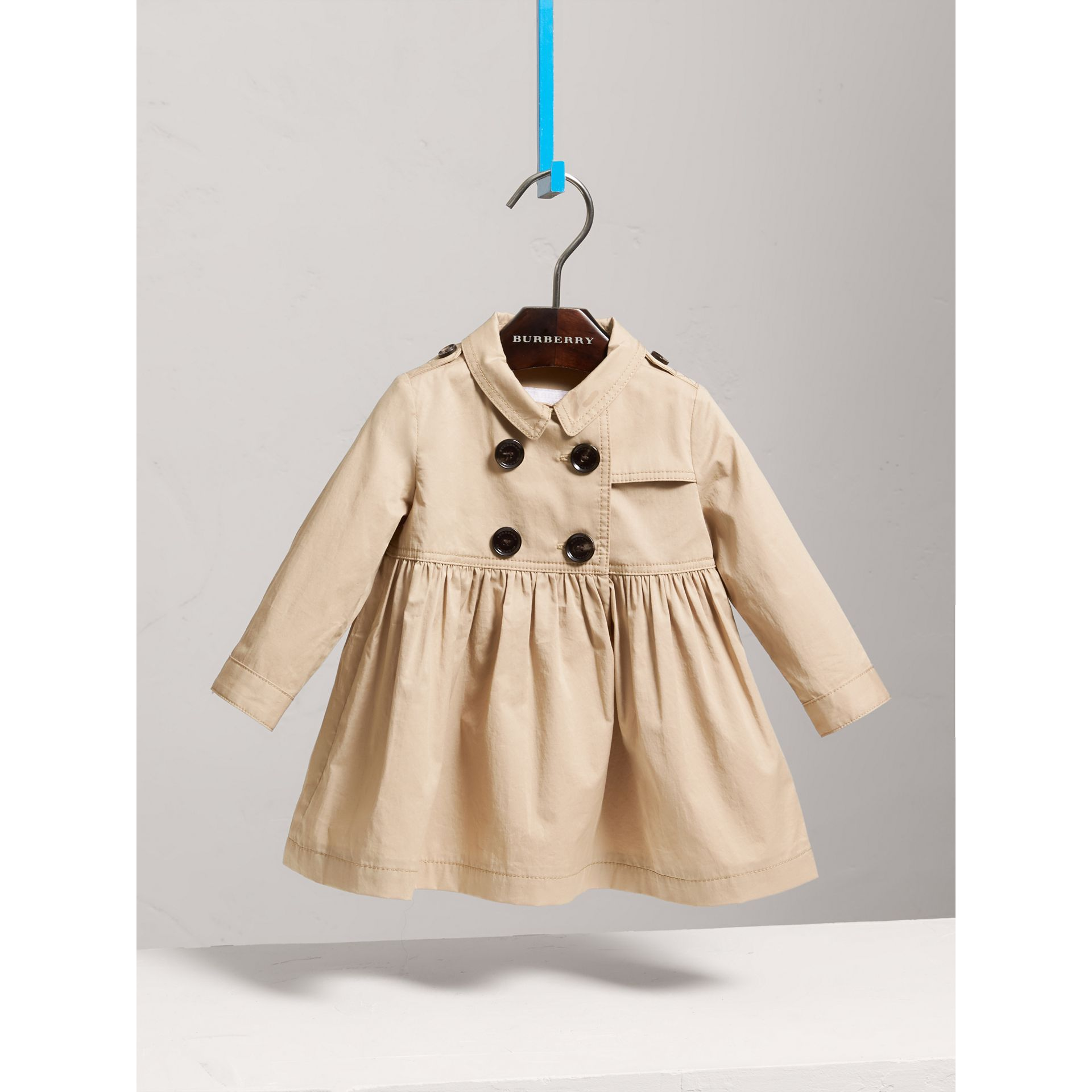 Stretch Cotton Trench Dress in Honey - Children | Burberry - gallery image 2