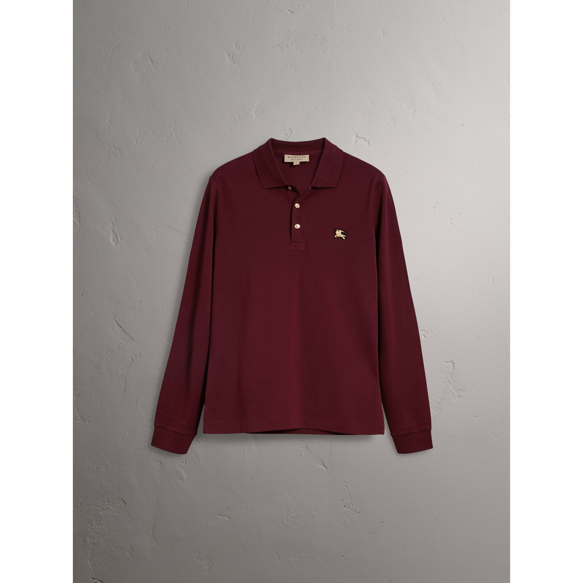 Long-sleeve Cotton Piqué Polo Shirt in Burgundy Red - Men | Burberry - gallery image 4