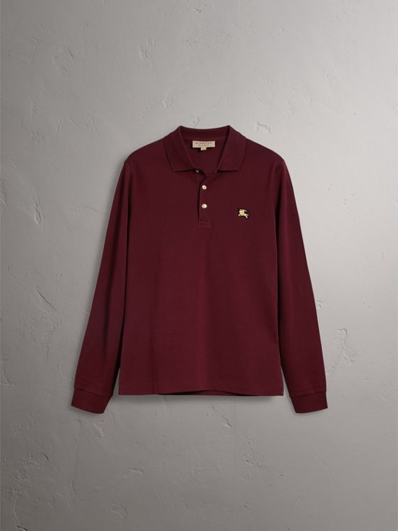 Long-sleeve Cotton Piqué Polo Shirt in Burgundy Red - Men | Burberry - cell image 3