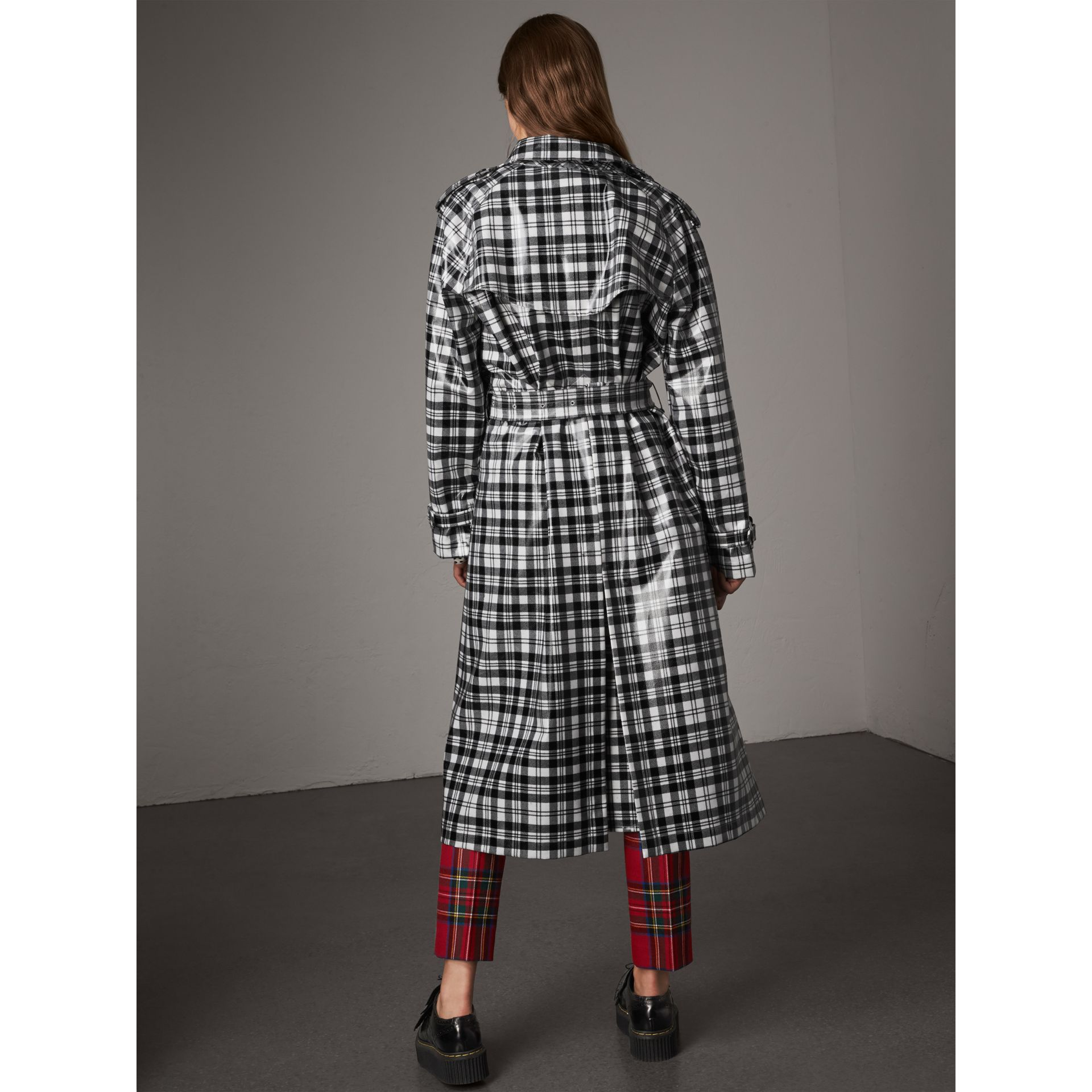 Laminated Tartan Wool Trench Coat in Black/white - Women | Burberry - gallery image 3