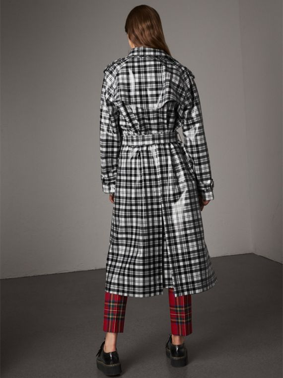 Laminated Tartan Wool Trench Coat in Black/white - Women | Burberry - cell image 2