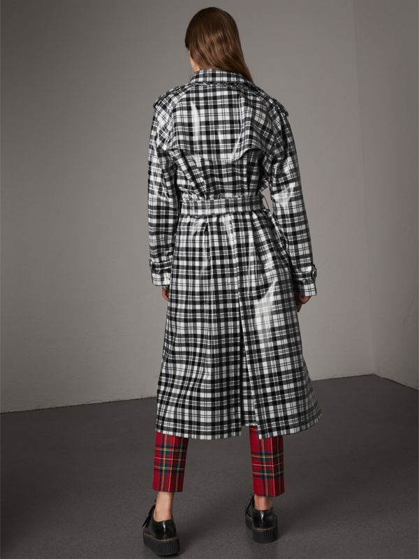 Laminated Tartan Wool Trench Coat in Black/white - Women | Burberry United Kingdom - cell image 2