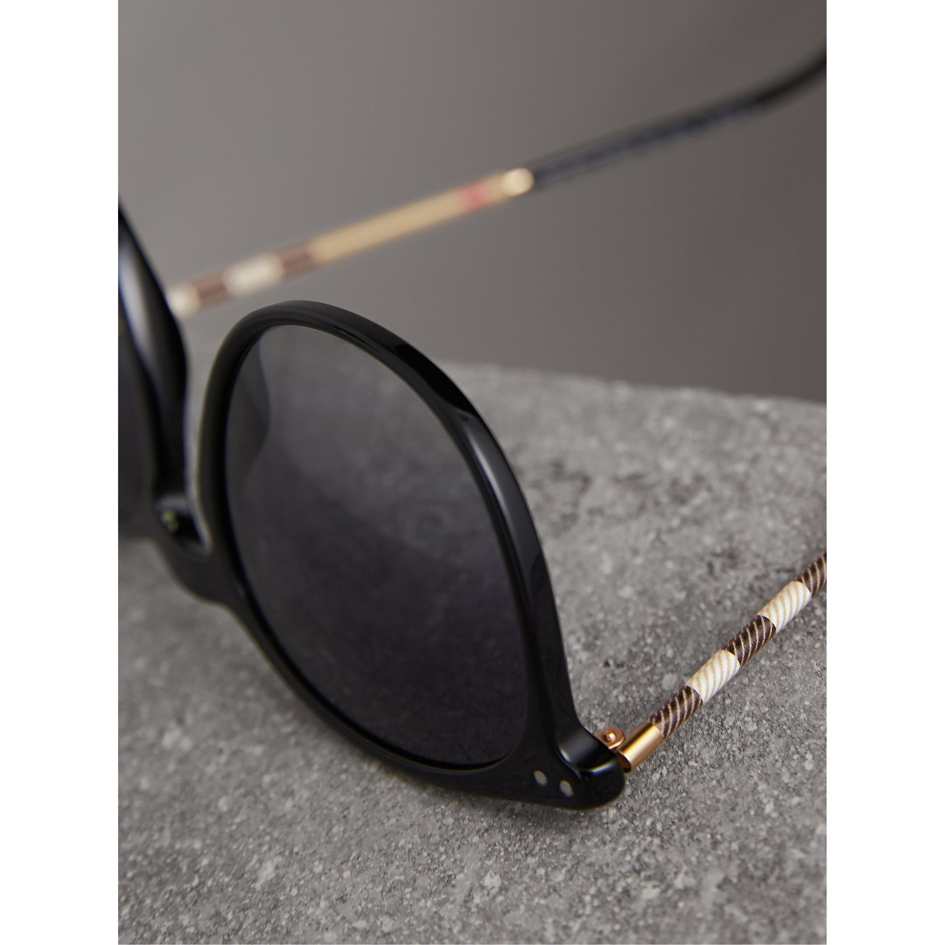 Check Detail Round Frame Sunglasses in Black - Men | Burberry Canada - gallery image 1