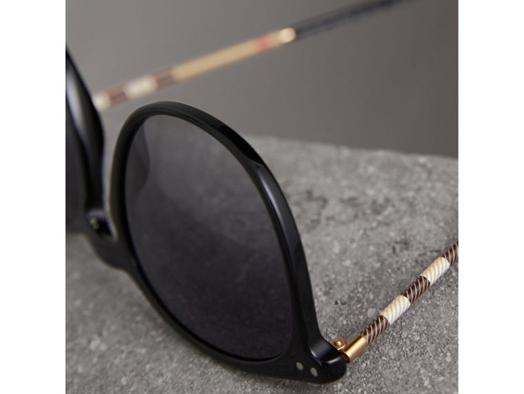 Check Detail Round Frame Sunglasses in Black - Men | Burberry Canada - cell image 1