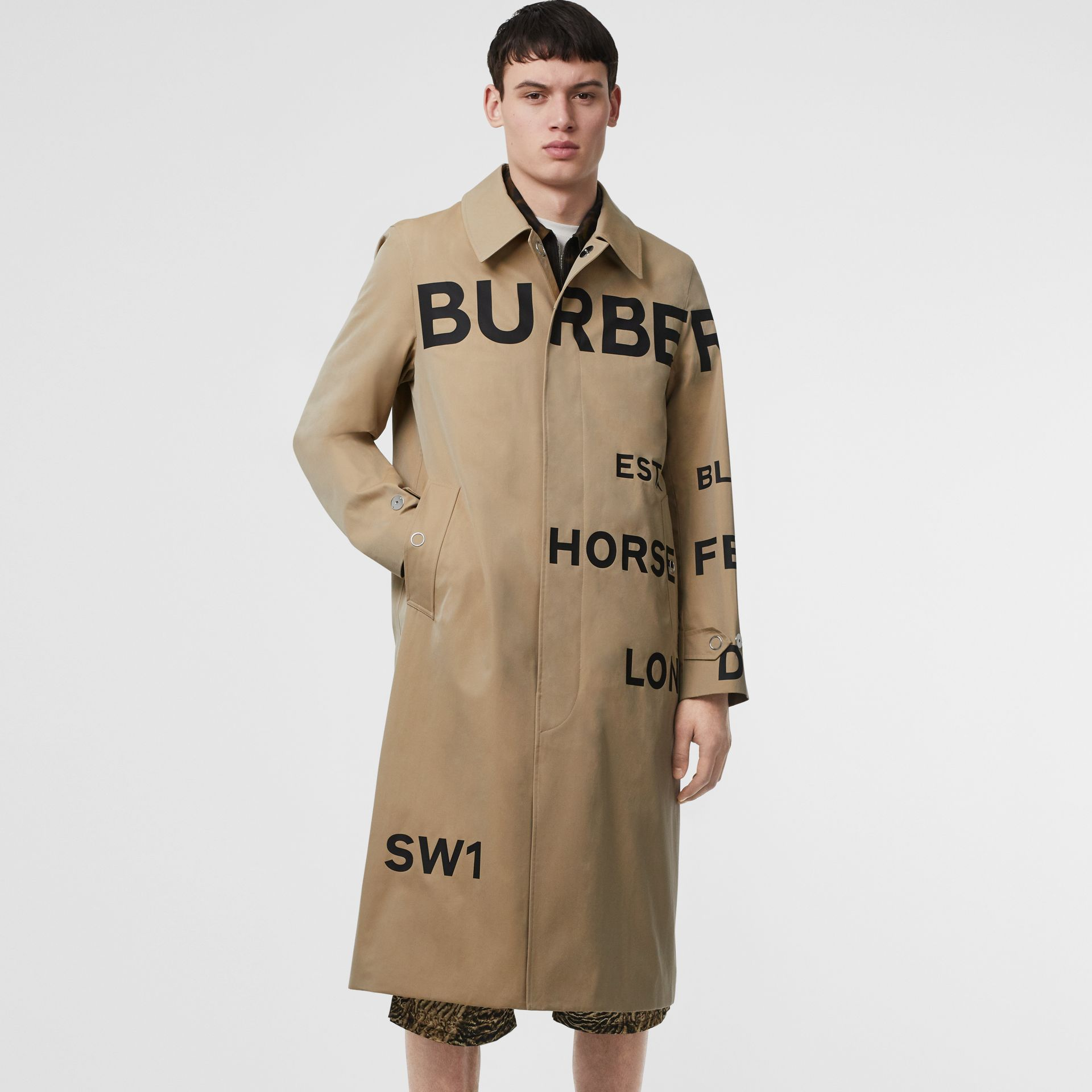 Horseferry Print Cotton Gabardine Car Coat in Honey - Men | Burberry - gallery image 5