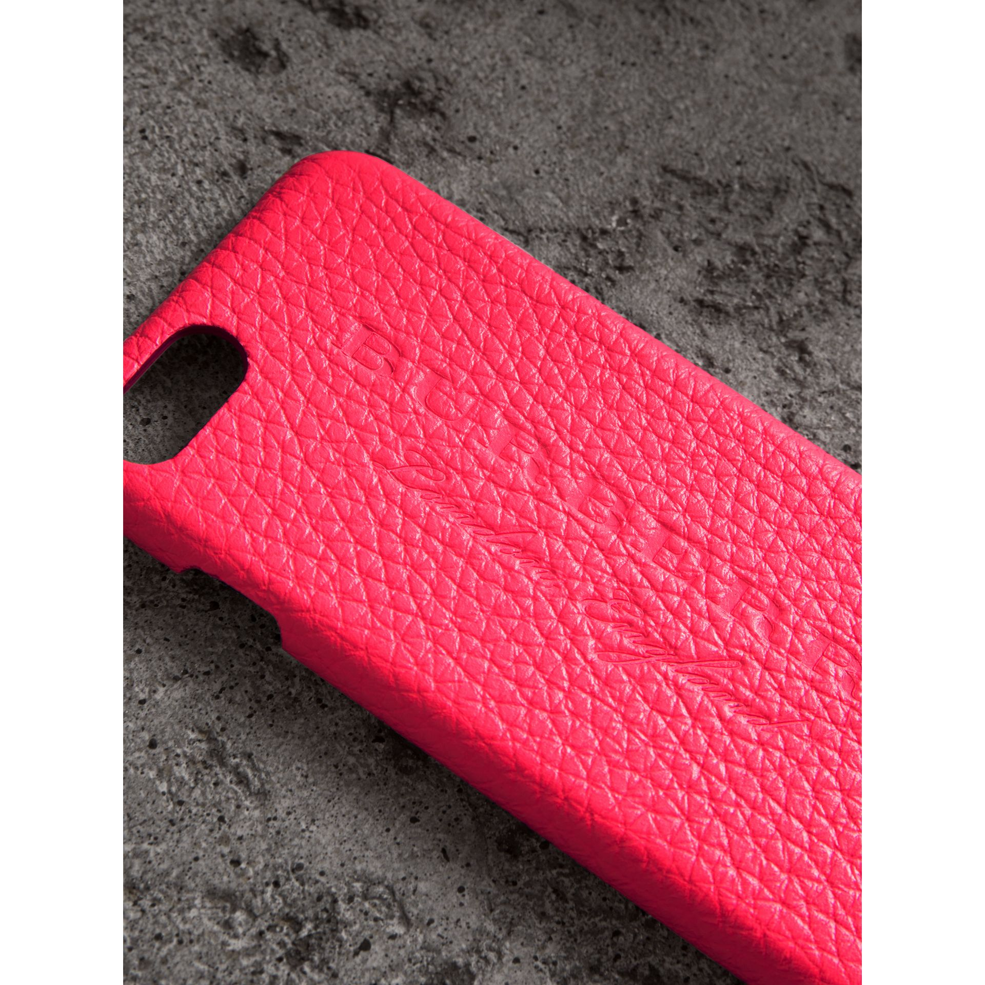 Neon Leather iPhone 7 Case in Bright Pink | Burberry - gallery image 1