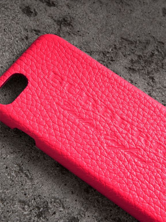 Neon Leather iPhone 7 Case in Bright Pink | Burberry - cell image 1