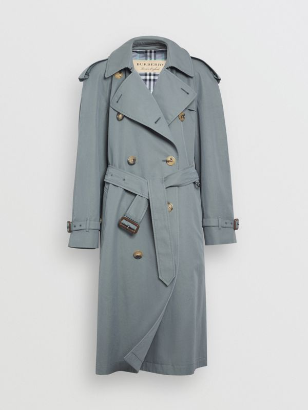 Wool-lined Tropical Gabardine Trench Coat in Dusty Blue - Women | Burberry - cell image 3