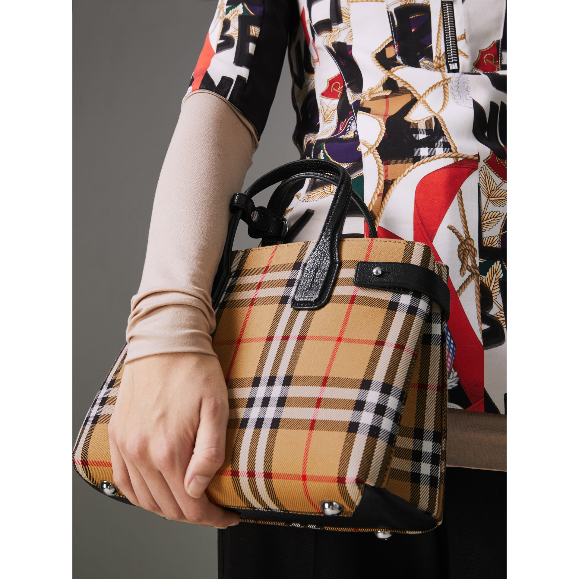 The Small Banner in Vintage Check and Leather in Black - Women | Burberry Australia - gallery image 2