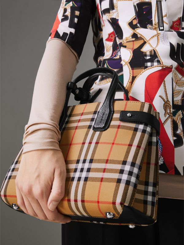 The Small Banner in Vintage Check and Leather in Black - Women | Burberry - cell image 3