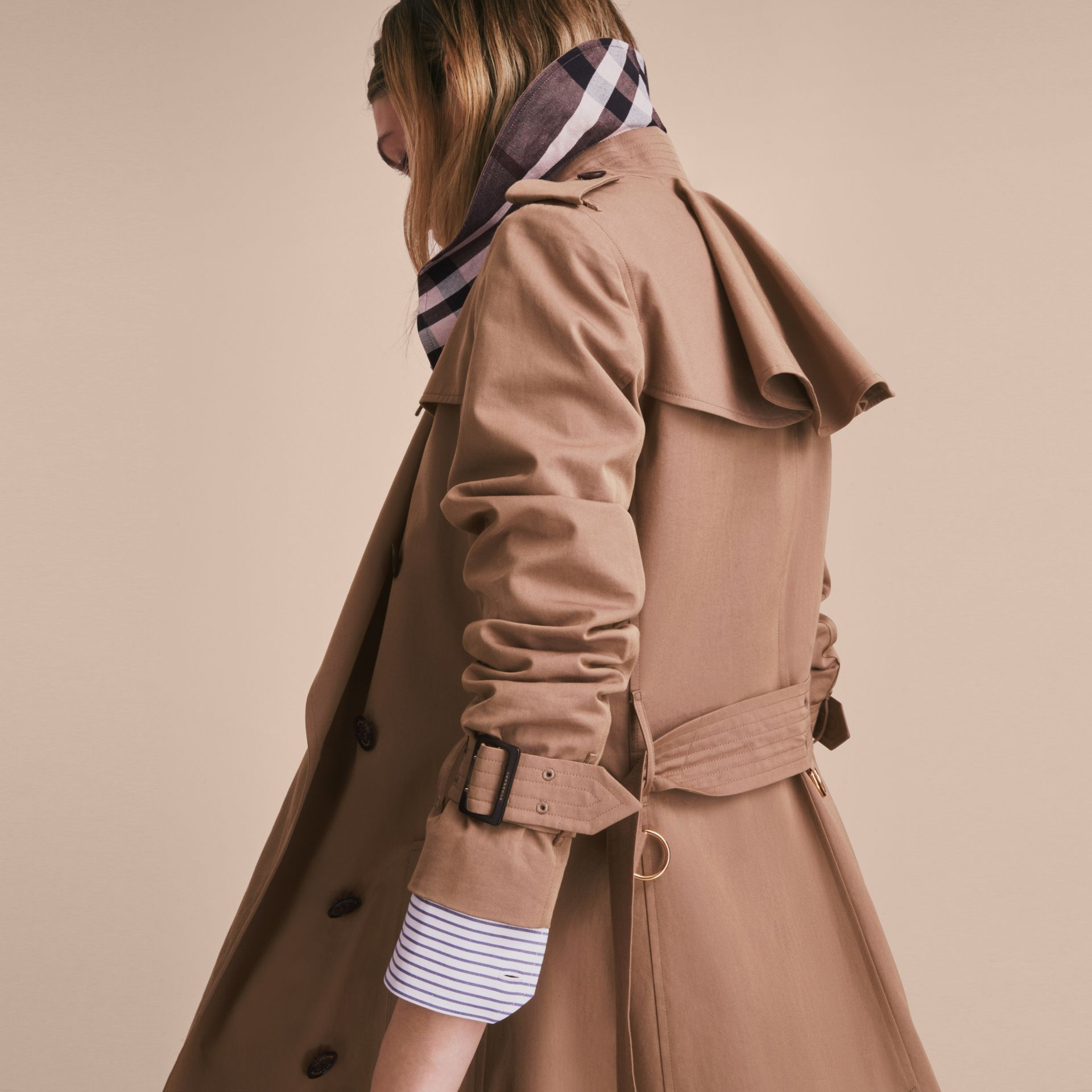 Tropical Gabardine Trench Coat with Ruffle Detail Taupe - gallery image 5