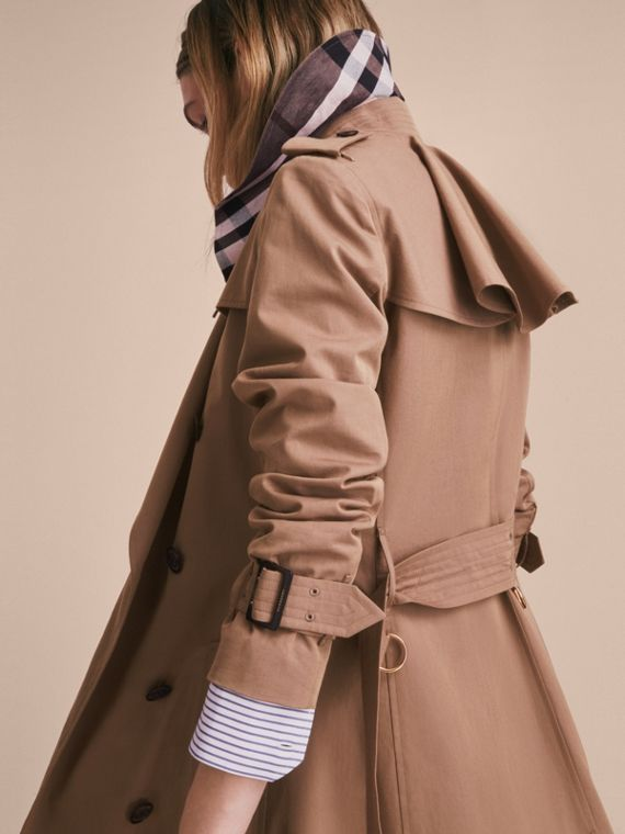 Tropical Gabardine Trench Coat with Ruffle Detail Taupe