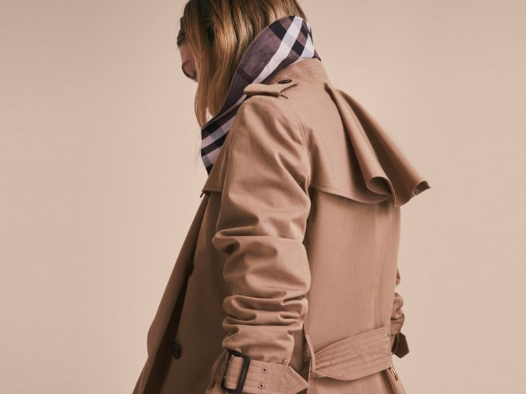 Tropical Gabardine Trench Coat with Ruffle Detail Taupe - cell image 4