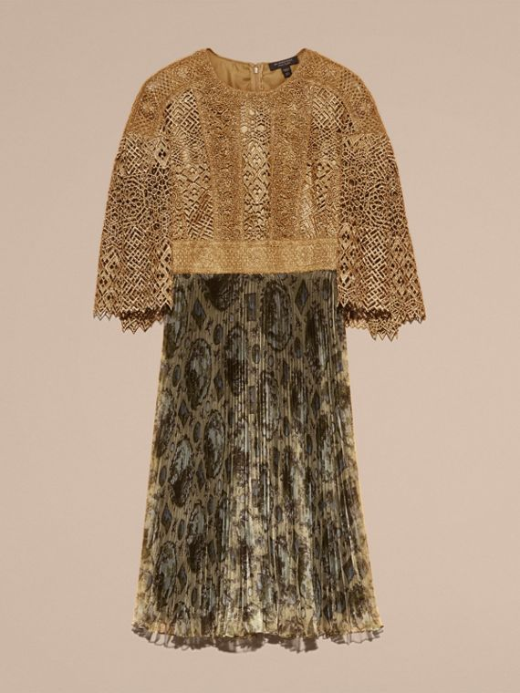 Gold Macramé and Pleated Organza Fit and Flare Dress - cell image 3