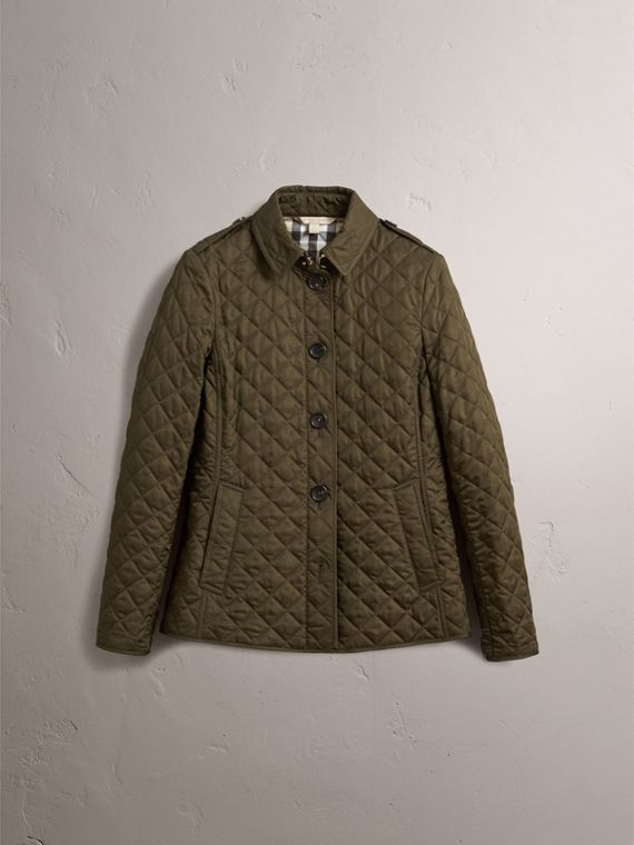 Diamond Quilted Jacket in Dark Olive - Women | Burberry Singapore - cell image 3