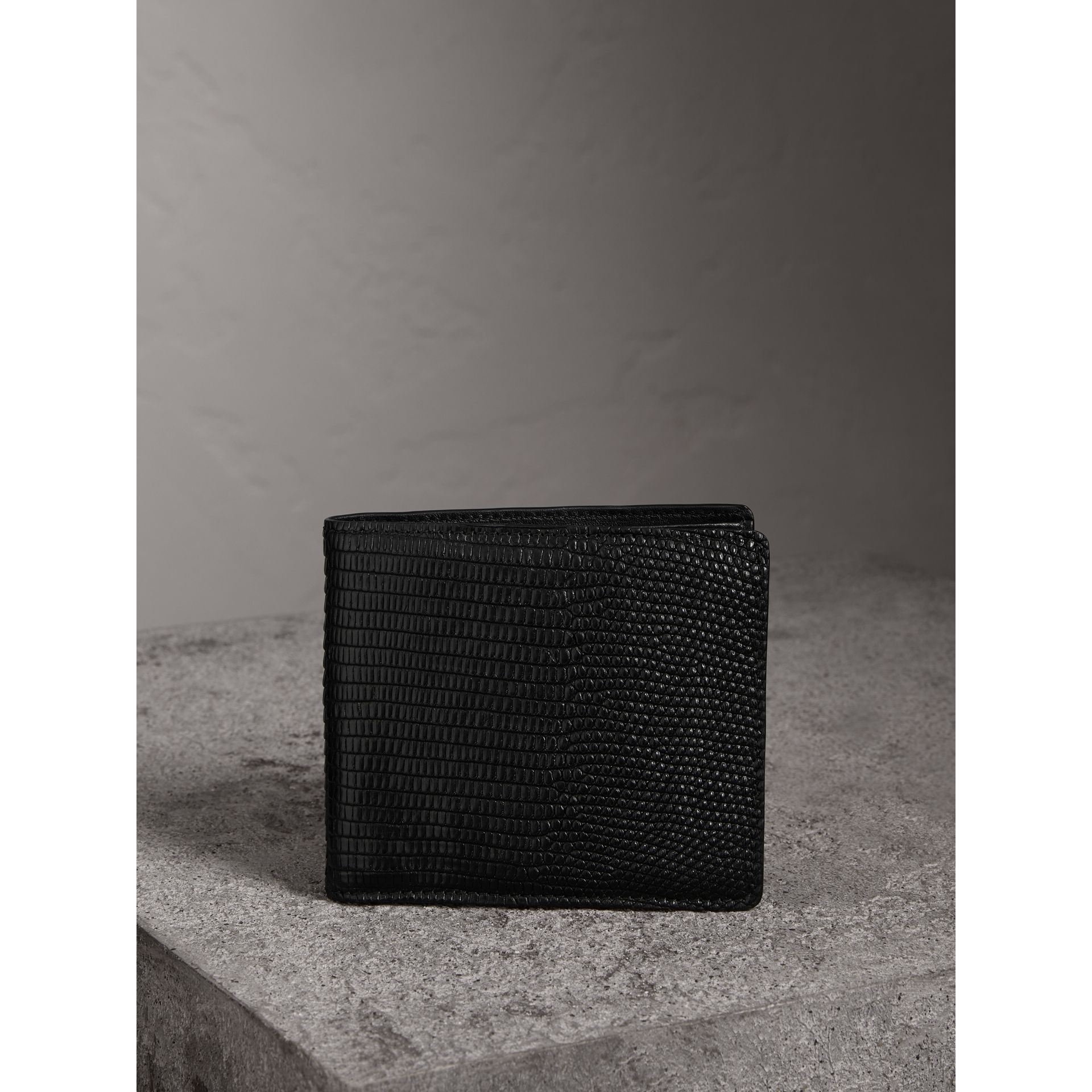 Lizard International Bifold Wallet in Black - Men | Burberry Australia - gallery image 4