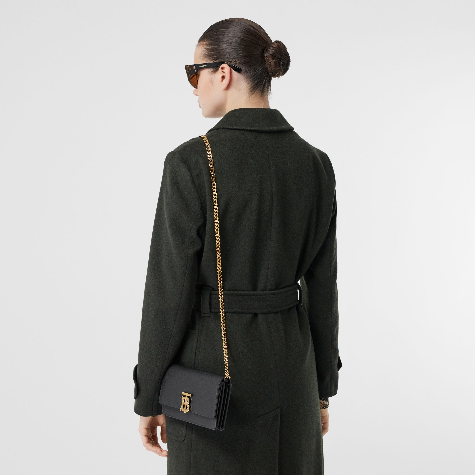 Small Grainy Leather Shoulder Bag in Black - Women | Burberry United Kingdom - gallery image 8