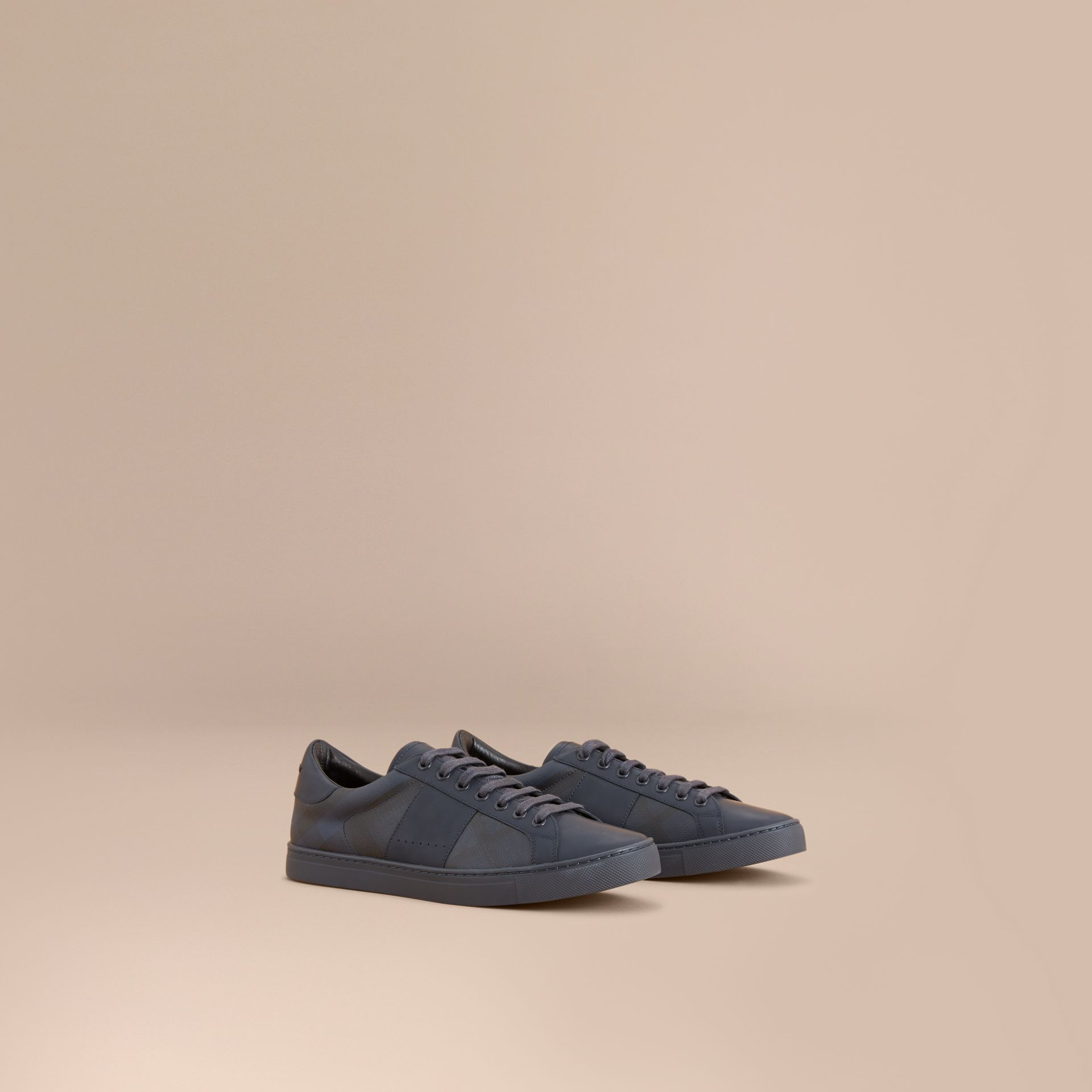 Check Detail Leather Trainers in Navy - Men | Burberry - gallery image 1