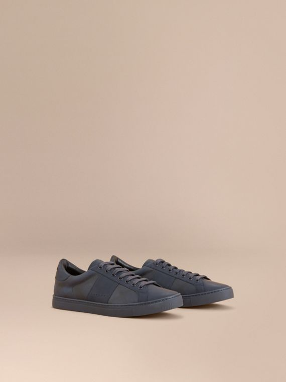 Check Detail Leather Trainers in Navy - Men | Burberry Singapore