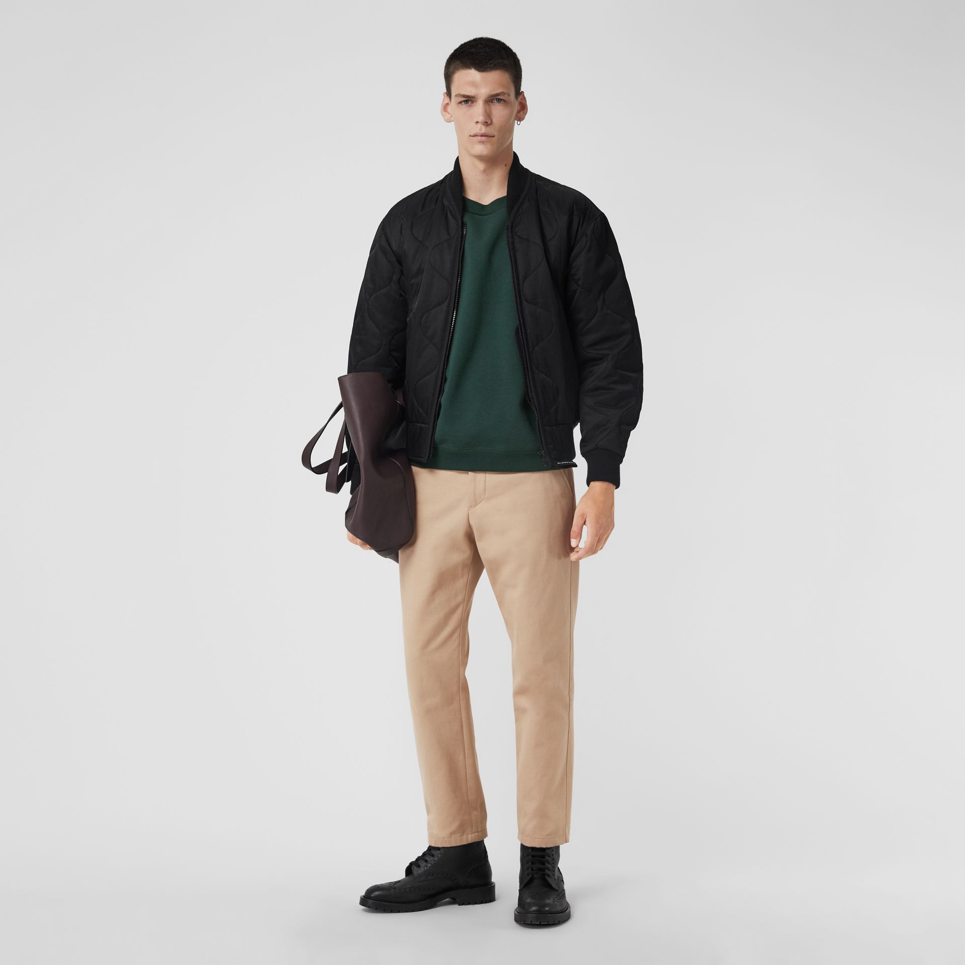 Quilted Bomber Jacket in Black - Men | Burberry - gallery image 0