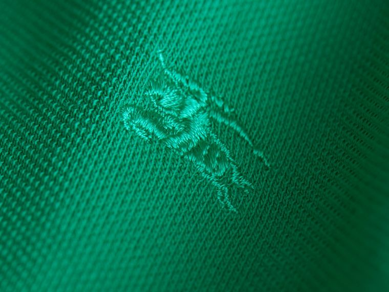 Check Placket Polo Shirt in Bright Green | Burberry - cell image 1
