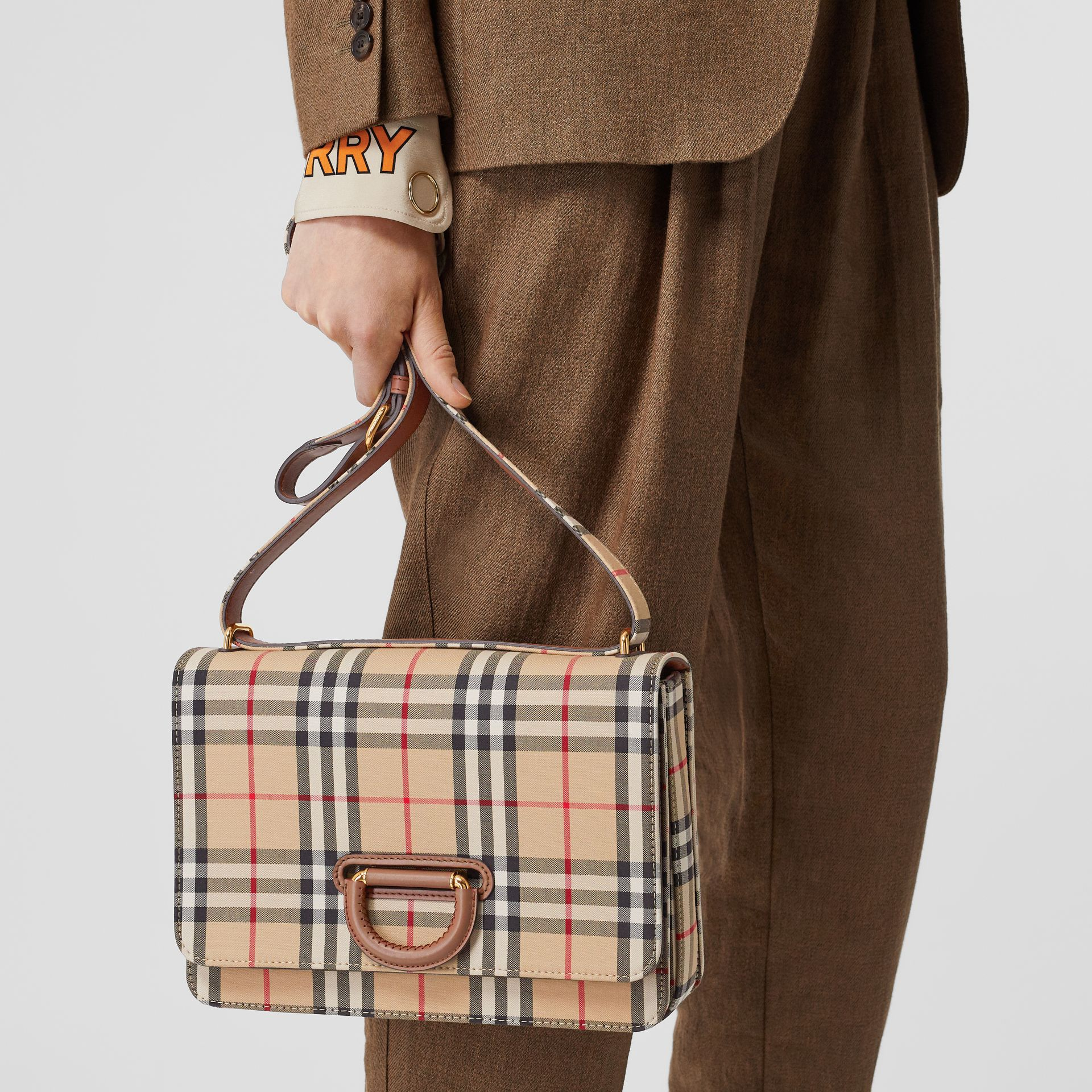 The Medium Vintage Check D-ring Bag in Archive Beige - Women | Burberry Singapore - gallery image 2