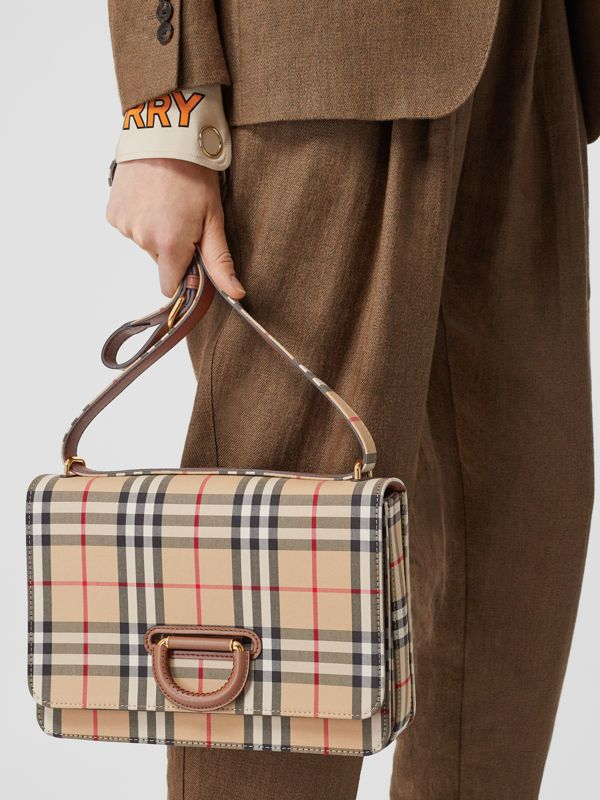 The Medium Vintage Check D-ring Bag in Archive Beige - Women | Burberry Singapore - cell image 2