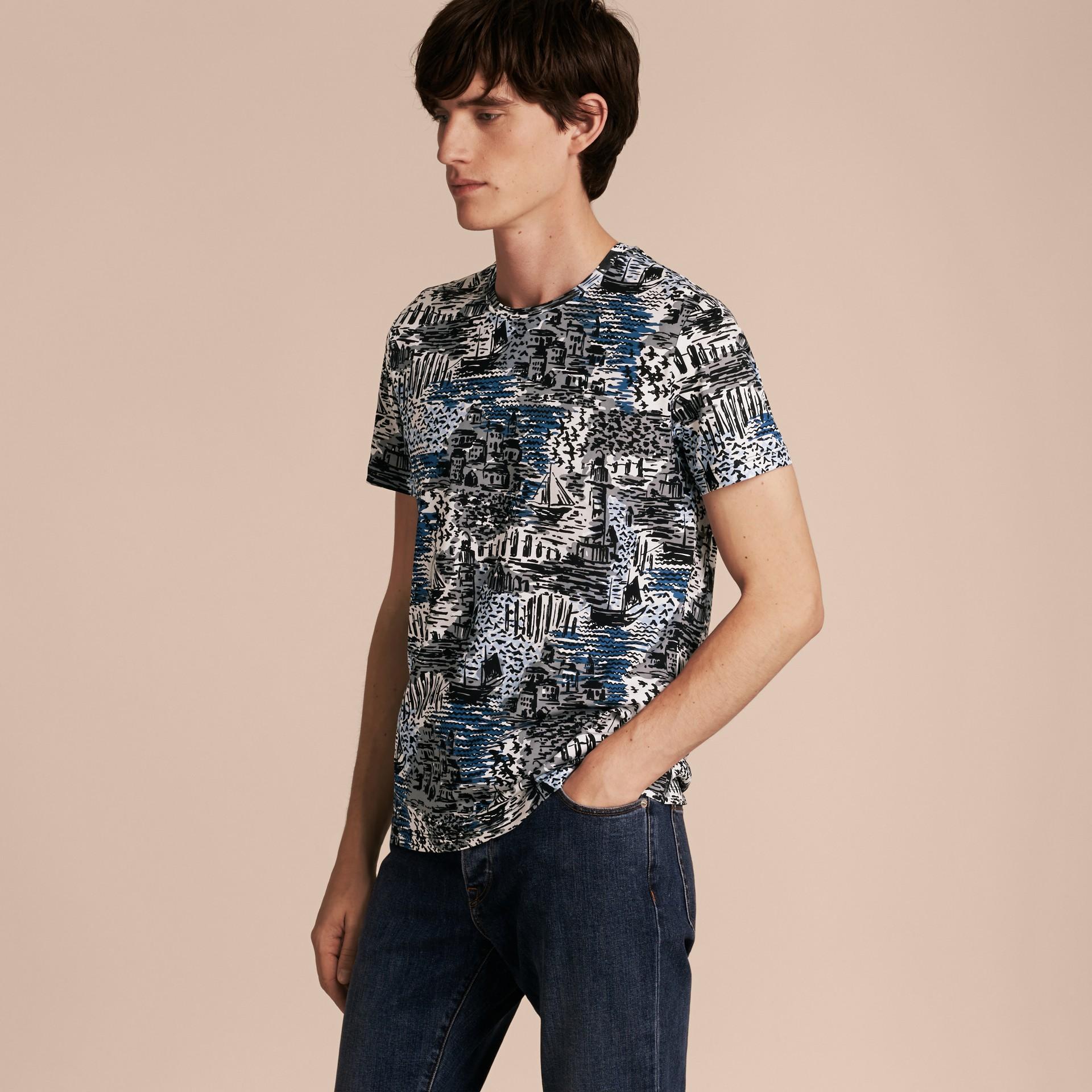 British Seaside Print Cotton T-shirt Steel Blue - gallery image 6