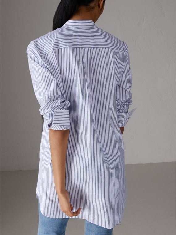 Ruffle Detail Striped Cotton Tunic Shirt in Navy/white - Women | Burberry Australia - cell image 2