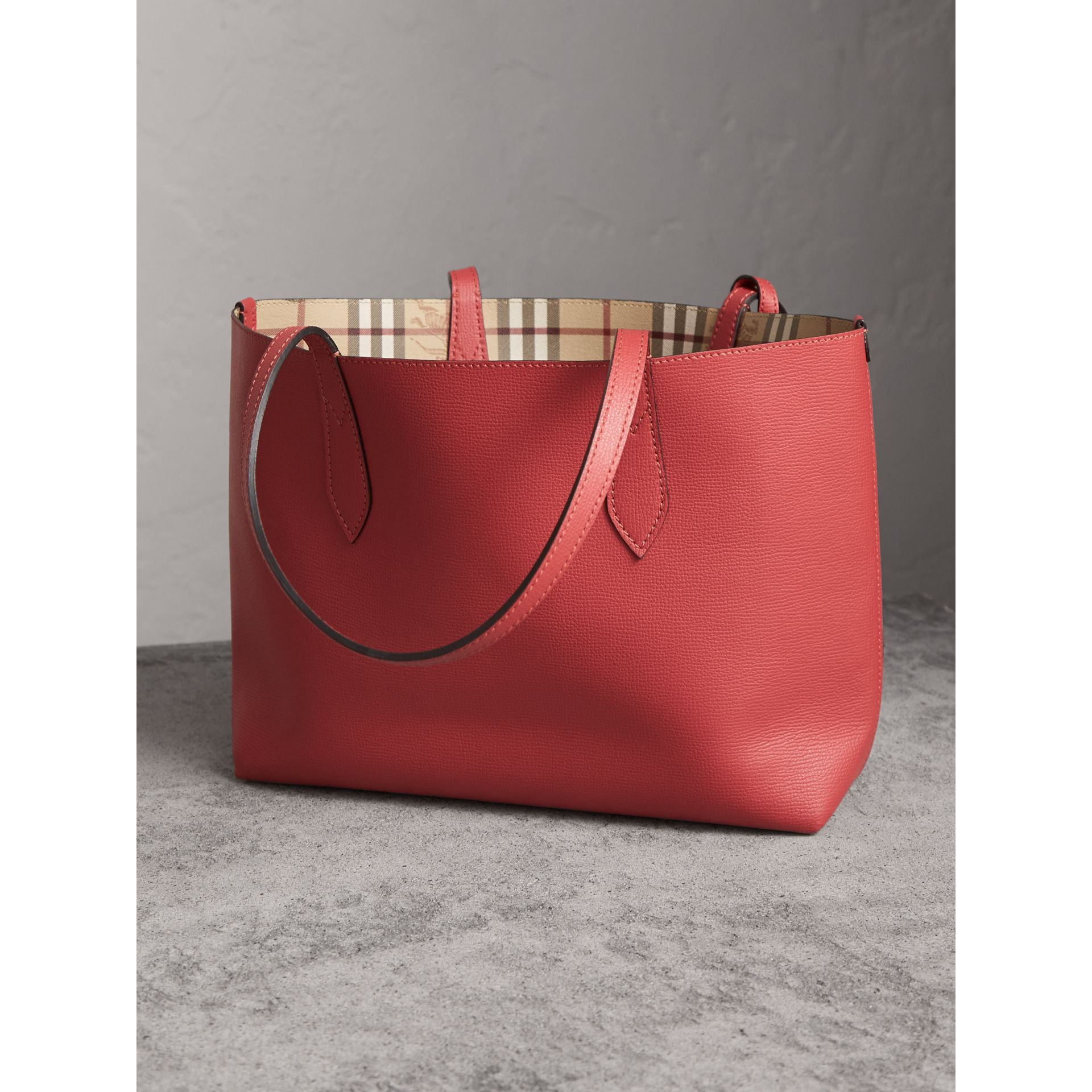 The Small Reversible Tote in Haymarket Check and Leather in Coral Red - Women | Burberry - gallery image 5